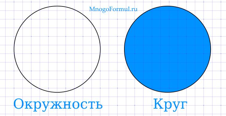 Отличия окружности и круга