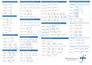 Формулы тригонометрии на листе А4