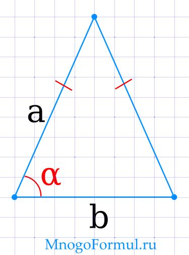 Площадь равнобедренного треугольника через основание и угол
