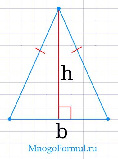 Площадь равнобедренного треугольника через основание и высоту