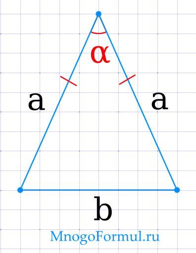 Площадь равнобедренного треугольника через боковые стороны и угол между ними