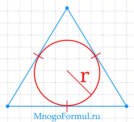 Площадь равностороннего треугольника через радиус вписанной окружности