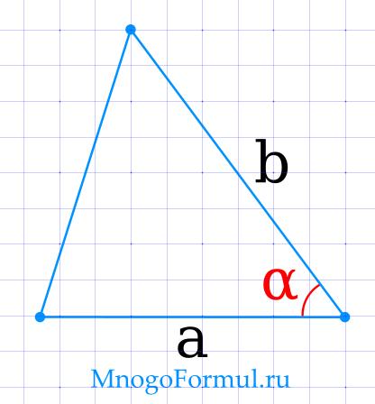 Площадь треугольника через две стороны и угол между ними