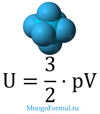 Внутренняя энергия идеального газа через давление и объем