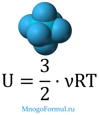 Внутренняя энергия идеального газа через массу, молярную массу и температуру