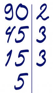 Разложим число 90 на простые множители